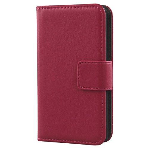 Gukas Design Echt Leder Tasche Für Kazam Trooper 2 4.5 Hülle Handy Flip Brieftasche mit Kartenfächer Schutz Protektiv Genuine Premium Hülle Cover Etui Skin Shell (Rosa)