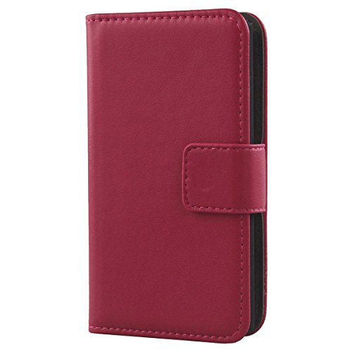 Gukas Design Genuine Leather Case for Leagoo Elite Y 5' Wallet Premium Flip Protection Cover Skin Pouch with Card Slot (Rose)