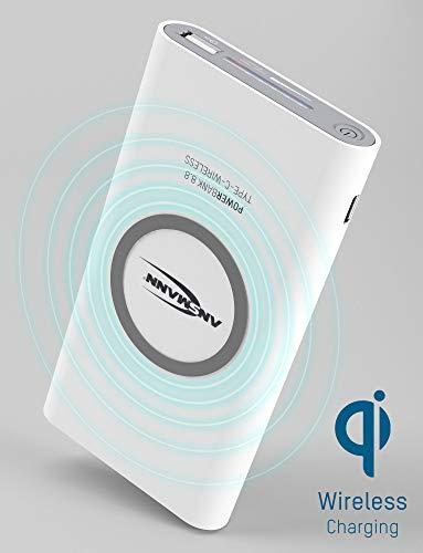 ANSMANN Qi Powerbank 8000 mAh mit USB & Typ C Port - Power Bank kabellos max 2.1A Output - Externer Akku für Handy Smartphone Tablet - Wireless Charger für iPhone XS/XR/X/8/ Samsung Galaxy S9/S8 uvm