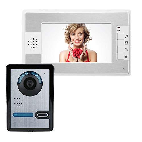 Camisin Intercomunicador Visual Timbre de 7 Pulgadas LCD con Cable Videoportero con Sistema de TeléFono Monitor Interior 1000 TVL CáMara IR-CUT al Aire Libre (Enchufe de la UE)