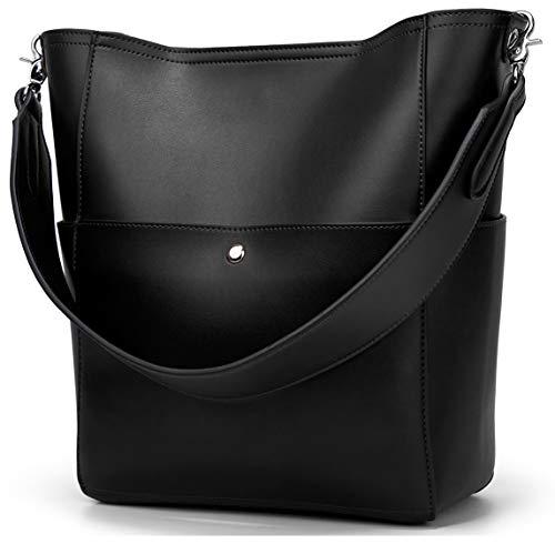Women's Designer Vegan Leather Bucket Bags Big Capacity Tote Shoulder Purse Satchel Hobo Crossbody Handbag