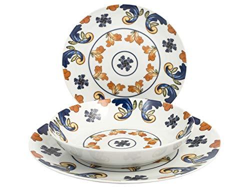 H&H 731563 Victoria - Vajilla de porcelana (18 piezas)