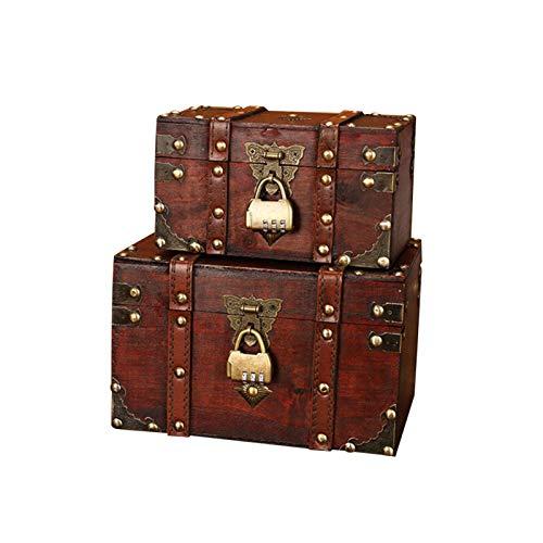 BIUDUI Cofre De Madera, Cofre Pirata, Caja De Regalo, con Tapa Y Candado con Llave, Caja De Madera Cofre del Tesoro Pirata De Estilo Vintage