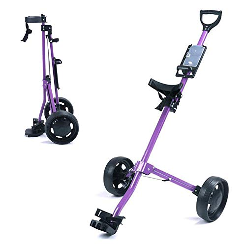 Lowest Price! Golf Push Cart 2 Wheels Foldable Hand Cart Easy Push and Pull Cart Trolley with Scorec...