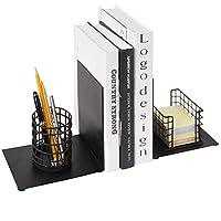 ブラックメタル デスクトップ スペースセーバー ブックエンド オフィスステーショナリーオーガナイザー 鉛筆ホルダー ノートパッドディスペンサー付き