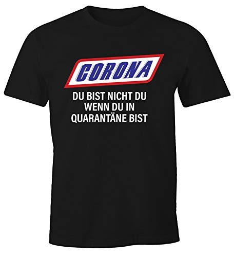 Preisvergleich Produktbild MoonWorks® Herren T-Shirt Spruch Du bist Nicht Du Quarantäne Parodie Satire Virus zuhause bleiben Fun-Shirt schwarz XL