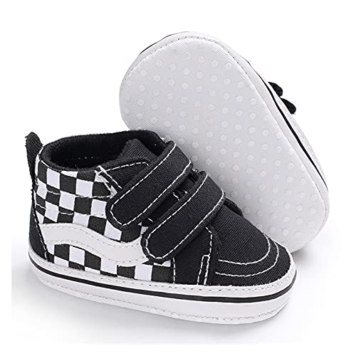 FURONGWANG6777BB Bebé Lienzo Sole Sole Hook Loop Shoes Infantil Casual Sport Zapatos Antideslizantes Suela Primeros Caminantes Zapatos de Cuna (Color : Black-New, Size : 6-12 Months)