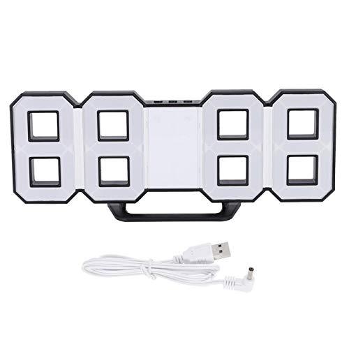 Pelnotac Reloj de pared colgante de mesa 3D, reloj digital LED con puerto para mesa de carga, decoración de escritorio para el dormitorio del hogar (blanco)