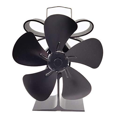 Wisson Herdventilator, 5-Blatt-leise Wärmekraft Umweltfreundlicher Kamin Thermisch angetriebener Herdventilator für Gas- / Pellet- / Holz- / Holzofen