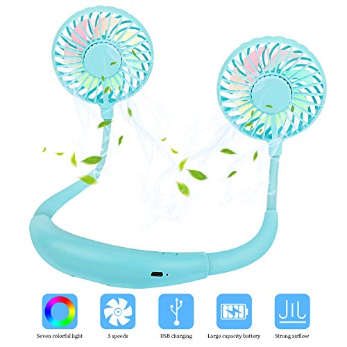 USB Mini Ventilator, Redmoo Ventilator Hals Hängend Mini Ventilator Leise Tragbarer Ventilator 2*verstellbar Köpfe 3 Windgeschwindigkeiten Wiederaufladbarer USB Lüfter für Outdoor Büros - Blau