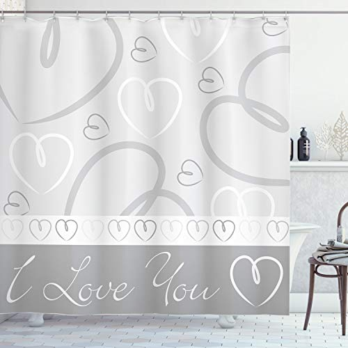ABAKUHAUS Herzen Duschvorhang, Doodle Herz-Liebe, Wasser Blickdicht inkl.12 Ringe Langhaltig Bakterie & Schimmel Resistent, 175 x 200 cm, Hellgrau