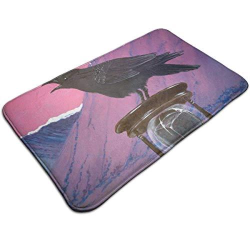 N\A Tapete de Bienvenida Tapetes Antideslizantes para Interiores y Exteriores, Tapetes fáciles de Limpiar para la Entrada, Tapetes Estampados con Reloj de Arena Black Crow