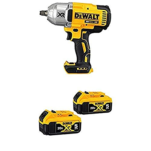 DEWALT DCF899HB 20V MAX XR Brushless High Torque 1/2' Impact Wrench with Hog Ring Anvil with 20V MAX XR 5.0Ah Lithium Ion Battery, 2-Pack