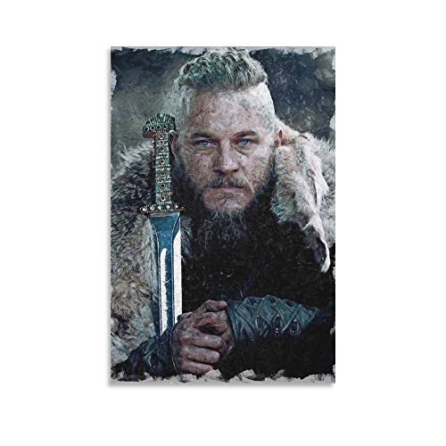 Ragnar Lothbrok Vikings - Lienzo decorativo para pared (60 x 90 cm)