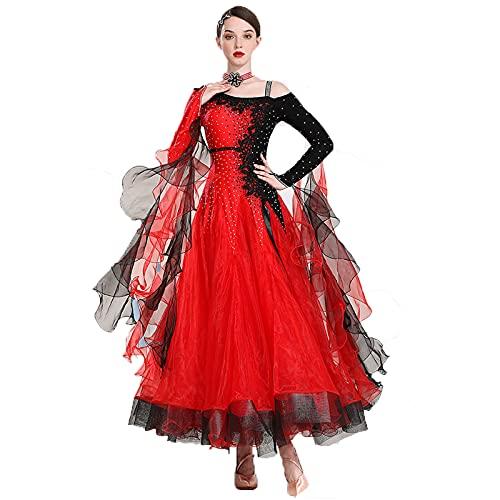 Vestidos Estándar de Competencia para Mujeres Baile de salón Mangas