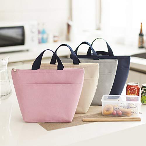 99native Lunch Tasche, Kühltasche Lunch Bag, Thermotasche Isoliertasche, Picknicktasche Mittagessen Tasche, Wasserdicht für Arbeit, Schule, Ausflug Lebensmitteltransport (Beige)