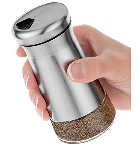 Pepper Shaker or Salt Shaker with Adjustable Pour Holes - Elegant Stainless Steel Spice Dispenser - Perfect for Himalayan, Table Salt, White and Black Pepper