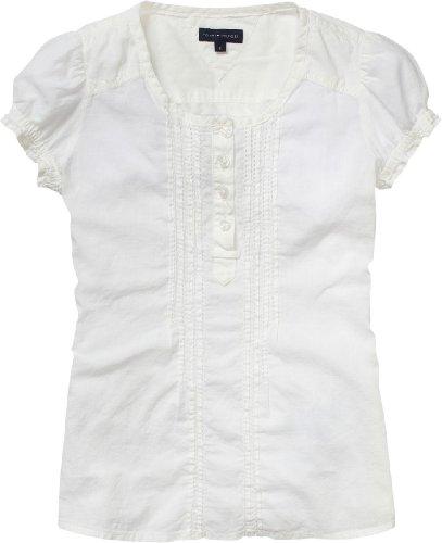 Tommy Hilfiger - Camiseta con Cuello Redondo de Manga Corta para niña, Talla 8 años (128 cm), Color Blanco (Snow White) 118