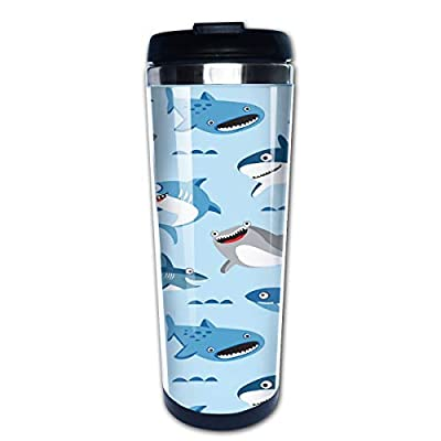 Hasdon-Hill Travel Mugs for Women Cartoon Shark Coffee Mug Tea Cup Stainless Steel Mug Gifts 12 Oz