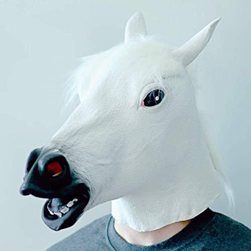 UOBLTD Paardenmasker, Latex Halloween Animal Maskers Paardenhoofd Maskers Kostuum Party Masker voor Volwassenen(Paardenmasker, wit)