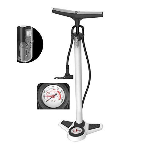 PQXOER-SP Fahrradpumpe Hochdruck-Standfahrradpumpe Fahrradreifen-Handpumpe mit Luftdruckmesser (Farbe : Weiß, Größe : 65cm)