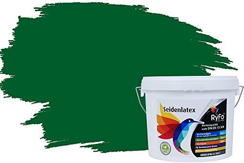 RyFo Colors Seidenlatex Trend Grüntöne Dunkelgrün 6l - bunte Innenfarbe, weitere Grün Farbtöne und Größen erhältlich, Deckkraft Klasse 1