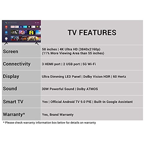 Hisense 146 cm (58 inches) 4K Ultra HD Smart Certified Android LED TV 58A71F (Black) (2020 Model) | With Dolby Vision and ATMOS 3