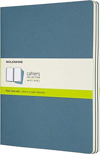 Moleskine Cahier Journal (3er Set Notizbücher mit blanko Seiten, Kartoneinband und Baumwollstickerei, Extra Large 19 x 25 cm, 120 Seiten), Lebhaftes Blau