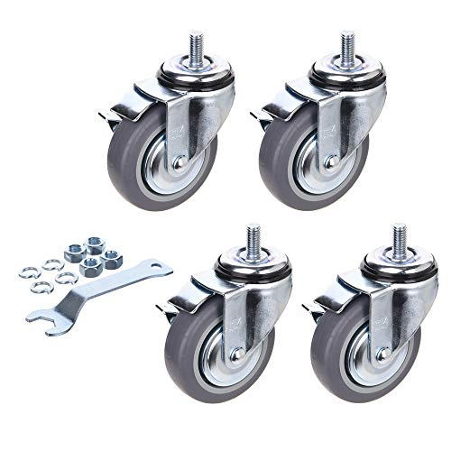 [T-REX CASTER] Easy Install, 4inch Heavy Duty Casters, All Swivel 1/2-13UNC1 Stem Caster with Safety Side Locking & Rubber Wheel Load Capacity - 840 Lbs Per Caster (Pack of 4) T504S-4B(LN)