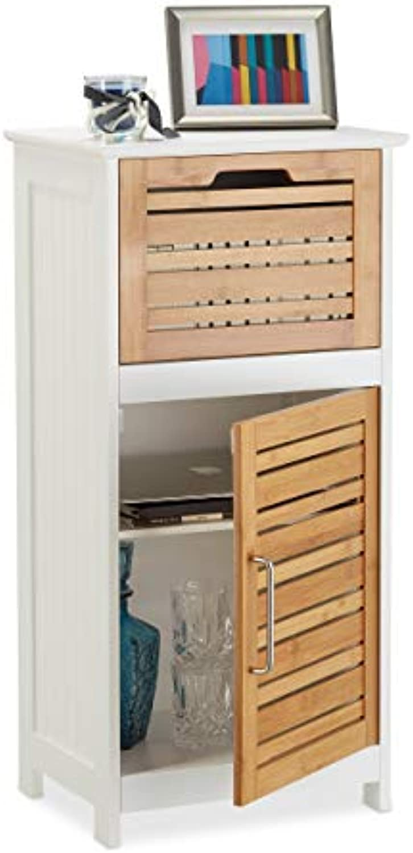 Relaxdays Beistellschrank aus Bambus, halbhoher Badschrank m. Schublade, HBT  83 x 40 x 30 cm, Flur u. Wohnzimmer, wei