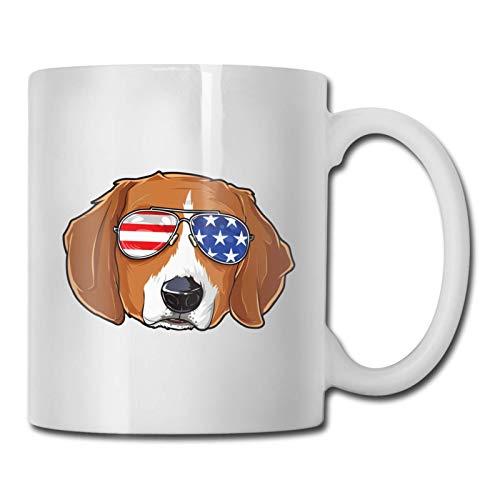 Taza divertida Gafas de sol americanas 4 de julio Taza de té para perros Taza de café Taza de café divertida Taza de cerámica