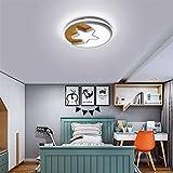 LEDlámpara de techo DIRIGIÓ Luz de techo estrellas de dibujos animados en forma de luna acrílico madera sólida habitación de niños semi flush monte iluminación lámpara antirreflujo lámpara de techo li