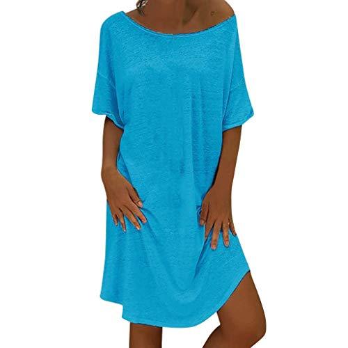 Vimoli Kleider Damen Elegant Sommerkleid Leinen Kleider Damen Rundkragen Strandkleider Einfarbig A-Linie Kleid Boho Knielang Kleid Ohne Zubehör(A Blau,De-42/CN-XL)