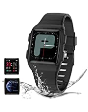 Smart Watch for Kids Women Men,Fitness Tracker with Heart Rate Blood Pressure/Blood Oxygen Monitor Sleep Monitor,IP68 Swimming Waterproof with Pedometer Calorie Step Counter for Smartphone Black