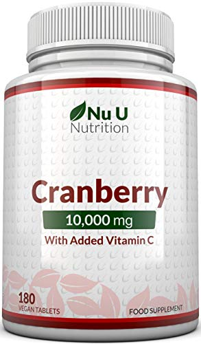 Cranberry Tablets 10,000mg - 180 Vegan Tablets with Vitamin C - High Strength Cranberry Extract