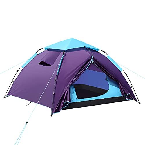 Zelt 3-4 Personen Regenfestes Pop Up Kuppel Camping Zelt für Outdoor Strand Wandern Reisen, einfacher Aufbau, Blau 210 x 190 x 120 cm
