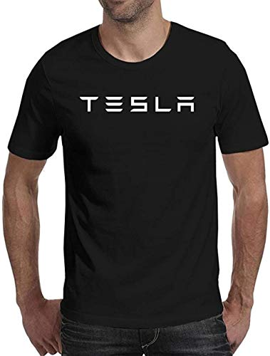 Mens Tesla White Logo T-Shirt Mens Cotton Black Tee (Medium)
