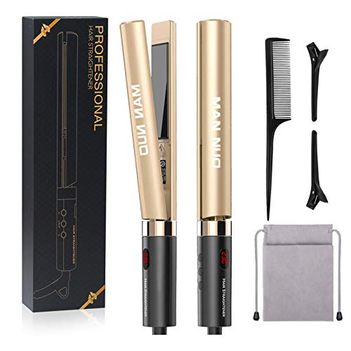 Professional 2 in 1 Curling Iron Hair Straightener Tourmaline Ceramic Flat Iron for All Hair Types with Rotating Adjustable Temperature Fast High Heat 250℉-450℉, 1 Inch (Gold)