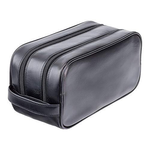 Visconti necessaire da viaggio in pelle per cosmetici da uomo Heritage Luxury Leather Travel Kit (HT100): (VT Nero (vintage Black))