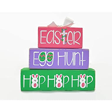 Easter Egg Hunt Hop Hop Hop WoodenBlock Shelf Sitter Stack Easter Basket Office Desk Decoration