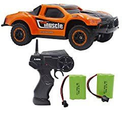 Bonus 1 battery and 1 USB Charger cable ,Total included, total 2 re-chargeable battery and charger cable in package. If Lost control after play,need restart the rc car and remote control again.2.4G radio control,High Speed 9MPH, digital proportional ...
