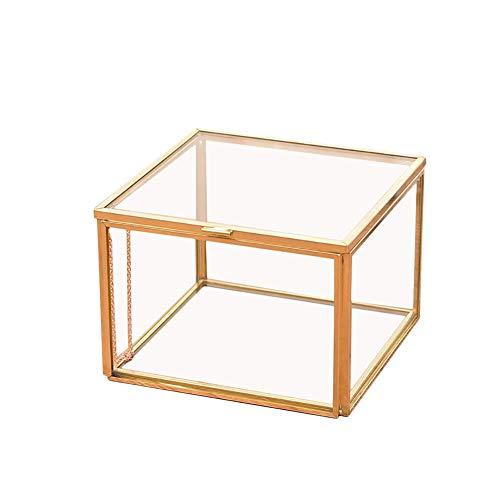 Macabolo rechthoekig geometrisch transparant glas terrarium box sieraden doos glas sappig plant pot Home Decor 10 * 10 * 7CM