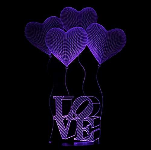 Venta Al Por Mayor Love 3D Led Colorful Nightlight Acrílico Regalo Creativo Niños Lámpara Usb Led 3D Light Luminaria De Mesa Led Night Light
