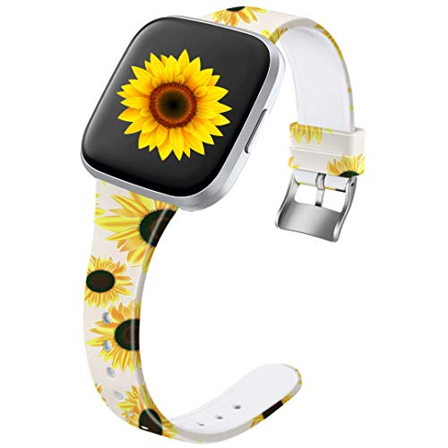 Ouwegaga Compatible for Fitbit Versa 2 Bands Versa Lite Band Women Men Straps Sunflower Pattern Large