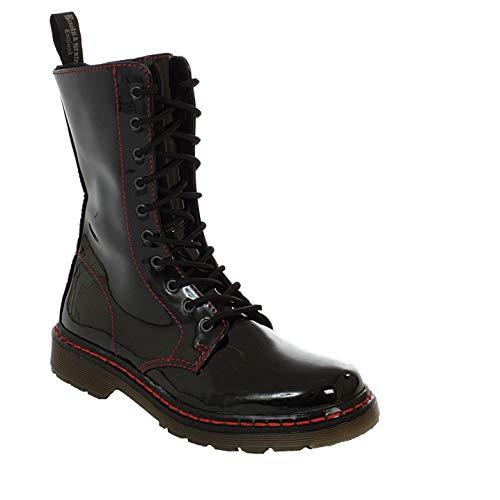 Boots & Braces - Easy 10 trous TR Bloody Patent Black Boots Rangers Black Lacquer Red seam Boot Shoes Black Size: - Noir - Vernis Black Bloody, 44 EU