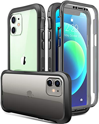 Luckymore Compatible with iPhone 12 Mini Case 5.4 inch, Full-Body Rugged with Built-in Screen Protector(Black)