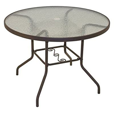 Rio Brands 40 Inch Sienna Round Patio Table With Tempered Glass Top (Chocolate Brown)