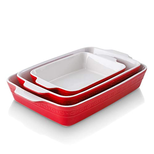 KOOV Bakeware Sets, Ceramic Baking Dish Set, Rectangular Lasagna Pan, Casserole Dish Set for Cooking, Cake Dinner, Kitchen, 9 x 13 Inches, Baking Set Daisy Series 3-Piece (Red)