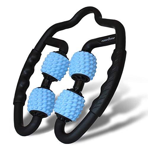 easeZone Muskel-Massageroller, Massage-Gerät & Faszienrolle mit Griff für Selbstmassage. Triggerpunkt & Faszien-Massagerolle für Oberschenkel, Beine, Nacken, Arme. Anti Cellulite Entspannung (Blue)