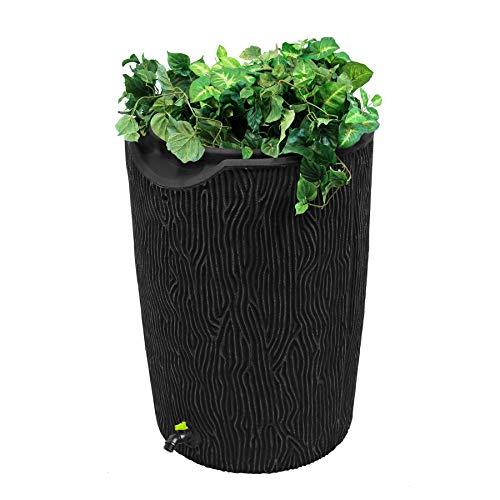 Good Ideas GI-REC-IMP-C50-BL Eco Bark 50 Gallon Saver Rain Barrel, Black